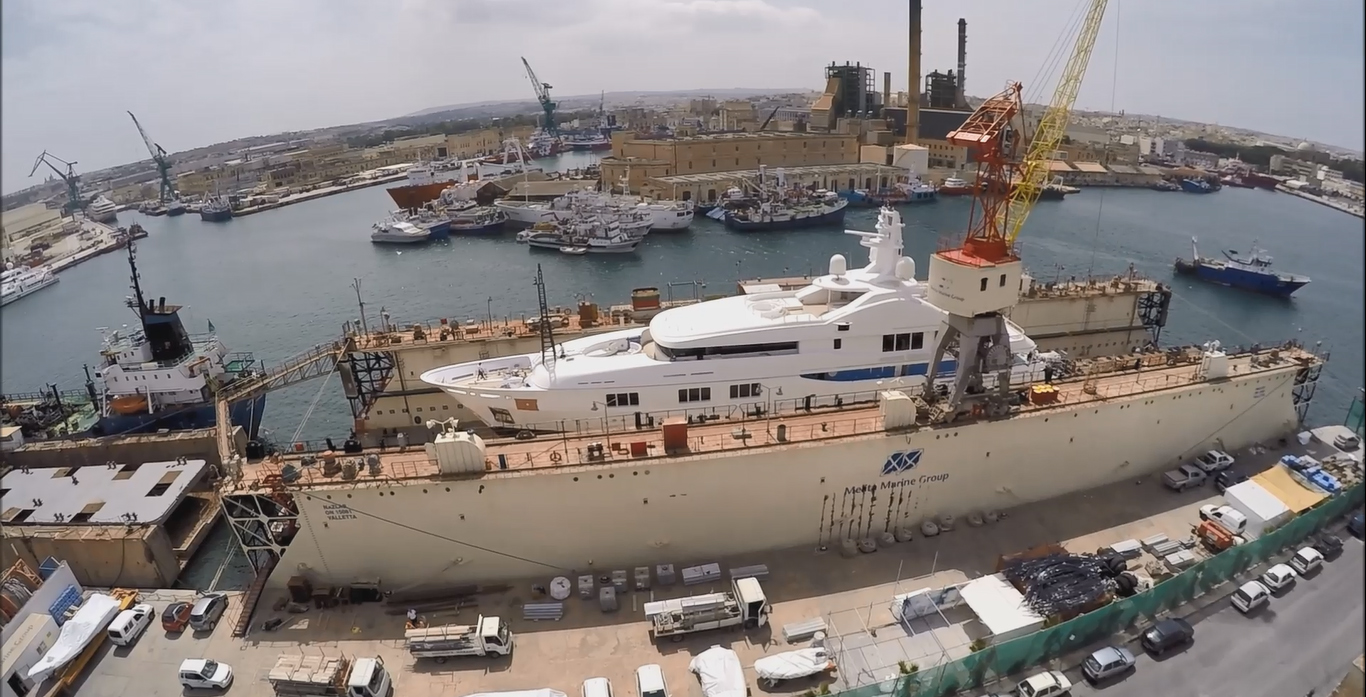 MY Baraka, Multi-million superyacht for refit at Melita Shipyard in Malta